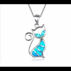 NWOT Opal Kitty Cat Necklace